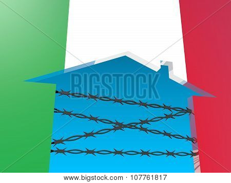 barbed wire closed home icon textured by italy flag