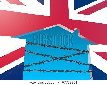 barbed wire closed home icon textured by britain flag
