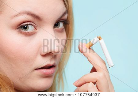 Girl Break Down Cigarette.