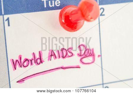 Calendar Marking The 1St December World Aids Day.