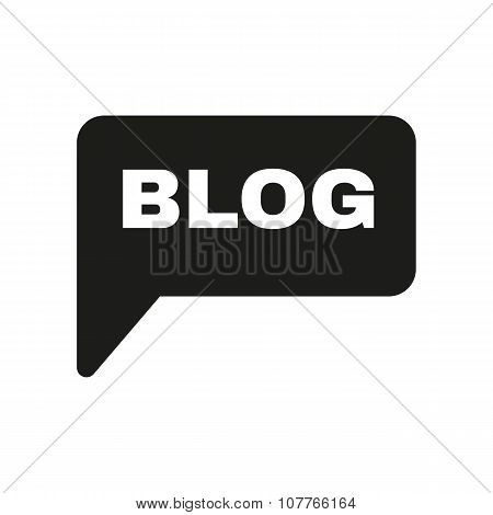 The speech bubble with a blog icon. Internet and forum, chat, online symbol. Flat
