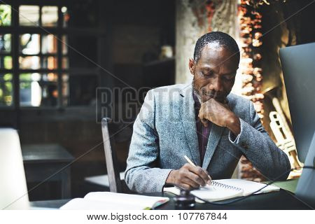 African Man Working Determine Workspace Lifestyle Concept