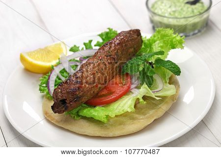 mutton seekh kabab kebab sandwich with mint chutney