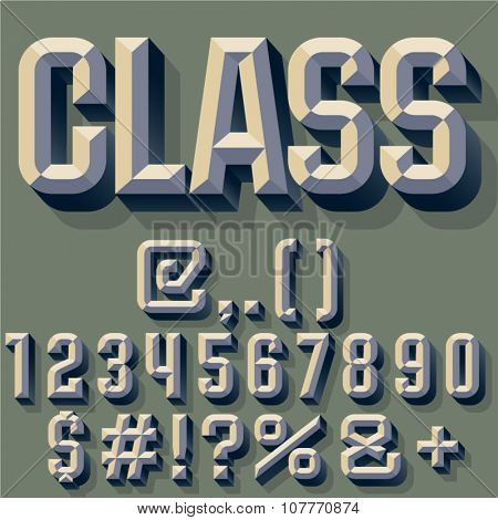 Vector illustration of old school beveled alphabet. Simple colored version. Numbers and Symbols