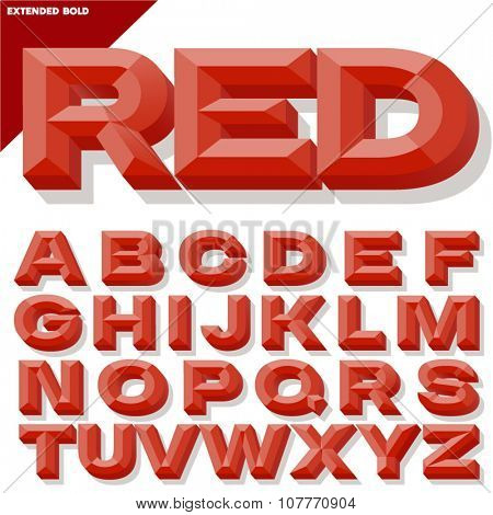 Vector 3D red bold beveled alphabet with shadow. Simple colored version.