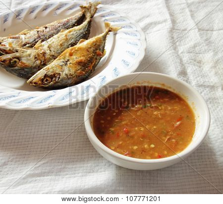 Chili Paste And Egg With Fried Mackerel, Thai Food
