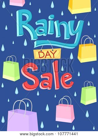 Illustration of a Poster with the Words Rainy Day Sale Written on It
