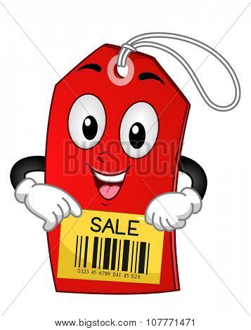 Mascot Illustration of a Red Tag with the Word Sale Written on it