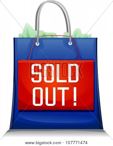 Illustration Featuring a Blue Shopping Bag with the Word Sold Out Written on It