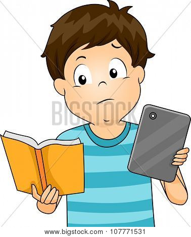 Illustration of a Little Boy Comparing a Book and a Tablet