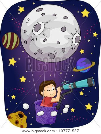 Illustration of a Little Boy in an Air Balloon Peering Through a Telescope