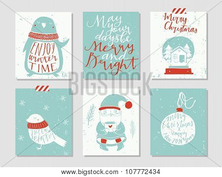 Collection of 6 Christmas card templates.