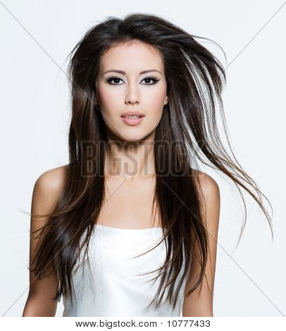 Brunette Woman With Beautiful Long Brown Hairs