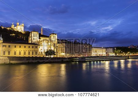View On Lyon In France In The Evening