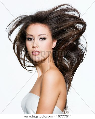 Pretty Woman With Beautiful Long Brown Hairs