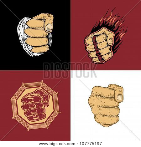 The set of four images with fists.