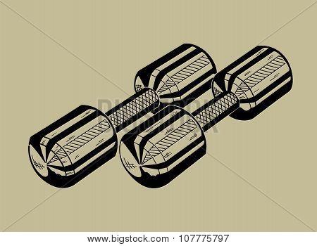 Illustration of dumbbell. Sports equipmen.