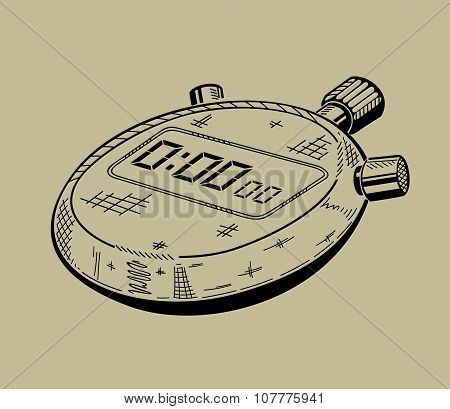 Illustration of stopwatch. Sports equipment.