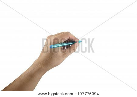 Blue Pen In Hand On White Background.