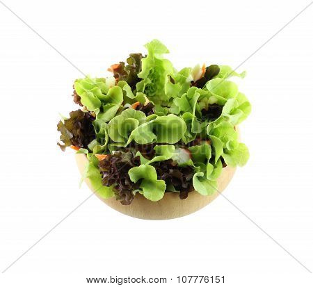 Vegetable Salad In Wooden Bowl For The Love Healthy People On White Background.