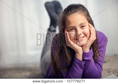 Ten years old girl posing