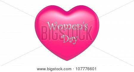 3D Pink Heart Shape With Happy Women's Day Text Inscribed White Background