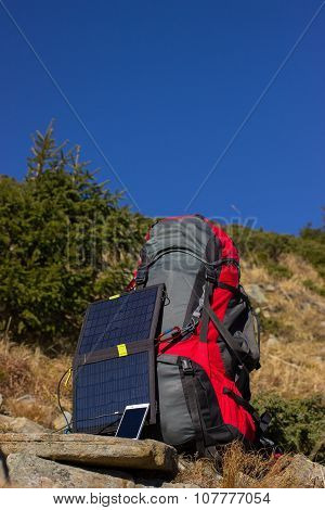 Equipment on top of the mountain.