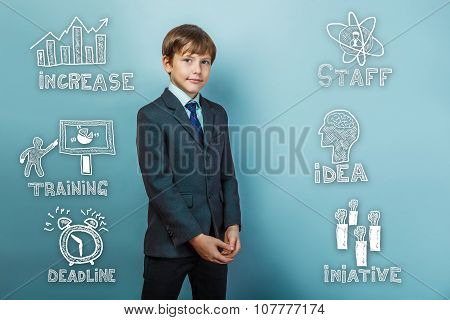 Successful businessman teenage boy standing with hands clasped s