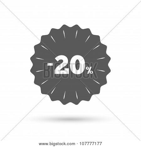 20 percent discount sign icon. Sale symbol.