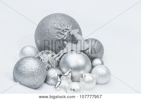 Snowy Silver Decorative Christmas Ornaments With Animal Santa Claus's Reindeer At Ground Level