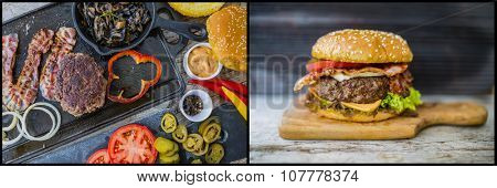 Hamburger, homemade hamburger, bacon and grilled vegetables
