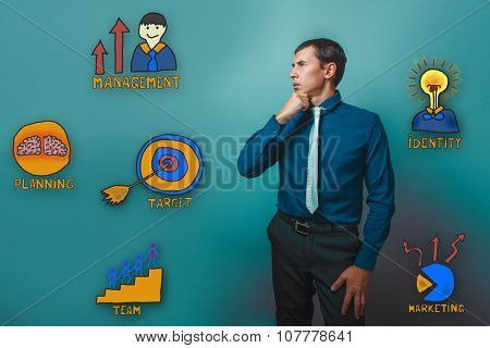 Businessman holds his chin thinks thoughtful collection of busin