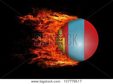 Flag With A Trail Of Fire - Mongolia