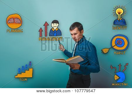businessman reading a book man frowned and shows a pencil on a c