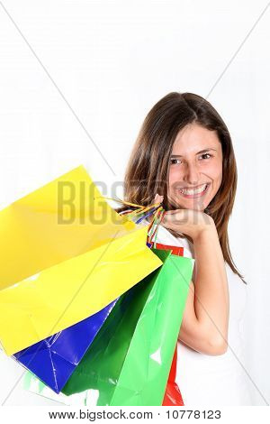 Happy Woman Comes With Colorful Bags