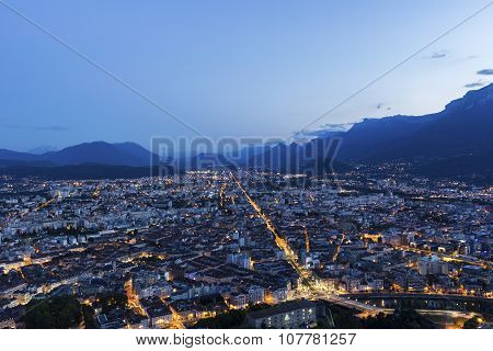 View On Grenoble In The Evening