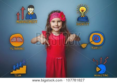 girl in a pink dress teenager laughing and pointing finger down