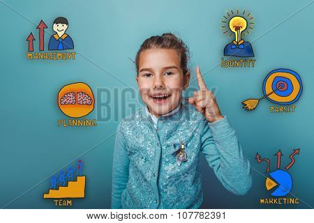 girl raised her thumb up and laughing collection of business ico