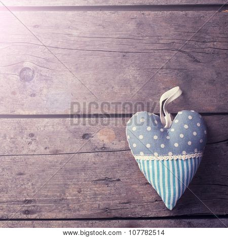 Decorative Heart On  Vintage Wooden  Background.