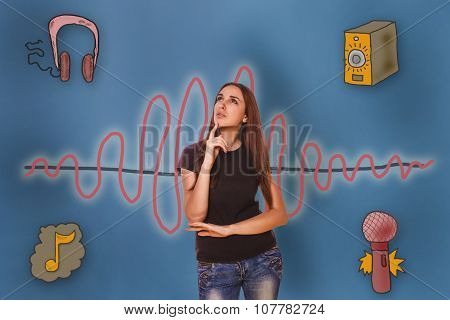 girl thought his hand on the chin and looking up the sound wave
