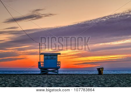 Sunset At The Snata Monica Pier In August