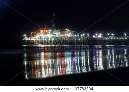 Night View At The Snata Monica Pier In August