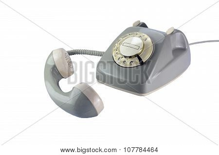 Gray Rotary Dial Phone With Removed Telephone Receiver Isolated On White