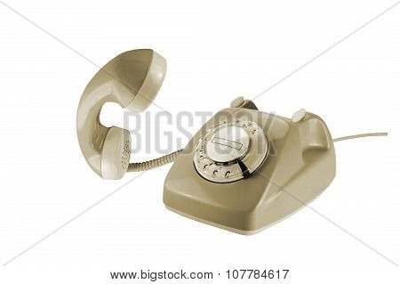 Beige Rotary Dial Phone With Removed Telephone Receiver Isolated On White