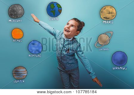 teen girl simulates flight pleasure planet of the solar system a
