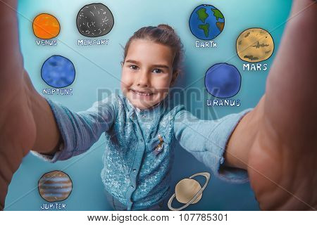 Teen girl smiling and removes self planets of the solar system a