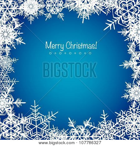Blue frosty Christmas snowflakes background