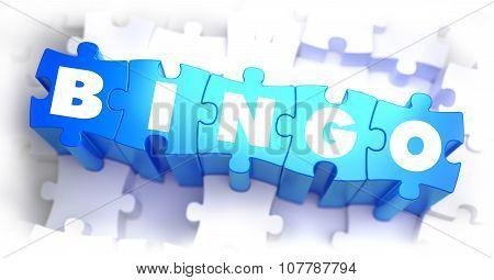Bingo - White Word on Blue Puzzles.