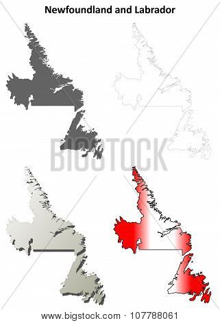 Newfoundland and Labrador blank outline map set