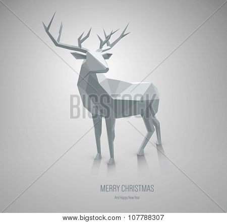 Polygonal illustration. Vector low poly deer, with space for text. Stag as graphic element for Christmas designs. Simple design, with minimalist approach.